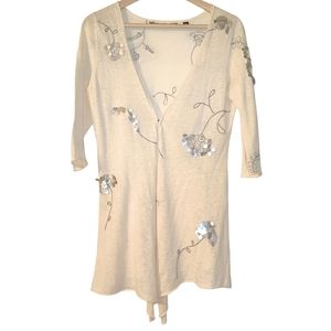 Knitted & Knotted Linen Boho Sequin Cardigan